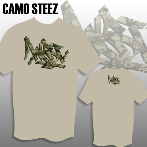 Camo Steez print on Sand Tee mock up