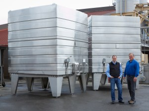 Winemakers Rick Sayre & Justin Seidenfeld (left) with tanks