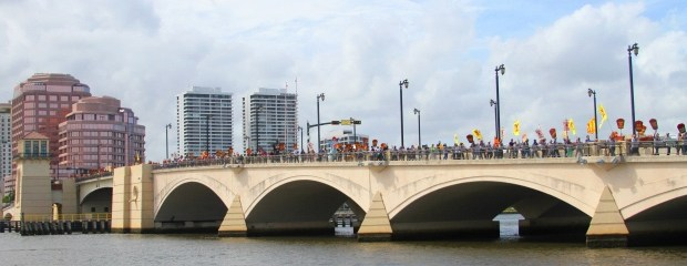 More than 500 marchers stretch from end to end of the bridge that connects West Palm Beach to Palm Beach. — PHOTO: Courtesy