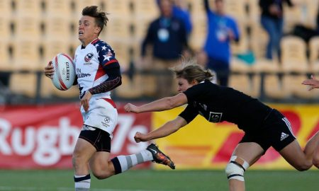 Jessica Javelet breaks the tie scoring a try against New Zealand at Atlanta 7s. Photo: Mike Lee @ KLC Fotos.