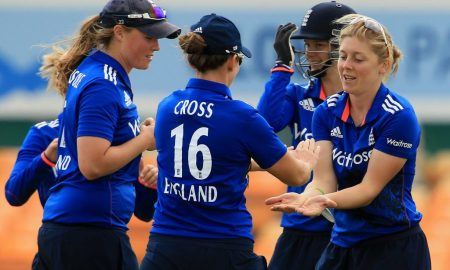 LEICESTER, ENGLAND - JUNE 21:  Heather Knight of England celebrates a wicket during the 1st Royal London ODI match between England Women and Pakistan Women at Grace Road Cricket Ground on June 21, 2016 in Leicester, England. (Photo by Stephen Pond/Getty Images) *** Local Caption *** Heather Knight