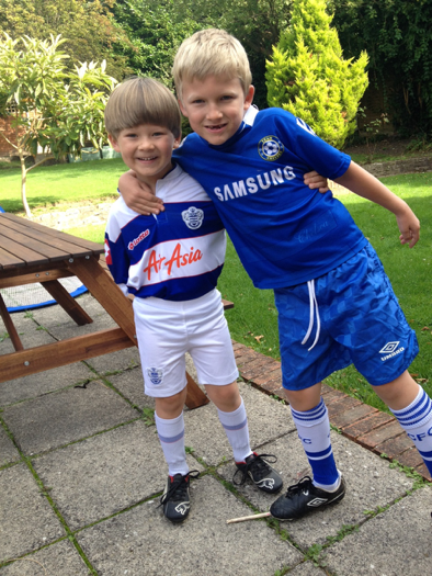 The boys supporting their favorite London teams (QPR and Chelsea)!