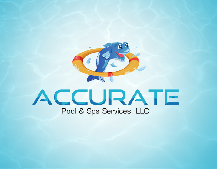 accurate-pool-n-spa logo design