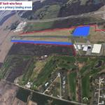 An aerial photograph of Plymouth Sky Sports facilities. Hazards and landing areas are depicted.