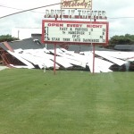 Wind from Friday's storm reduced screen one at the Melody Drive-In to a pile of rubble.