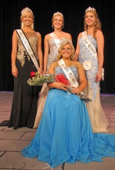 [center] Macy Bischoff of Winamac was crowned Miss Pulaski County 2015 and was also chosen as Miss Congeniality .She is shown with (l-r) 2014 Queen Justine Kruger, first runner-up Melissa Bailey, and second runner-up Alyssa Bushman who also won the People's Choice award.