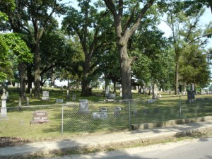 Trees were recently removed from Pioneer Cemetery adjacent to Norwayne Field in North Judson. Photo courtesy of findagrave.com.