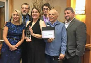 WKVI's Bridget Markin, Lenny Dessauer, Mary Perren, Michael Gallenberger, Tom Berg and Tony Ross at Saturday's Indiana Broadcasters Association Spectrum Awards banquet