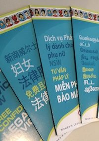 Women's Legal Service NSW Brochures in 10 Community Languages