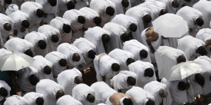 Muslims gather to pray.
