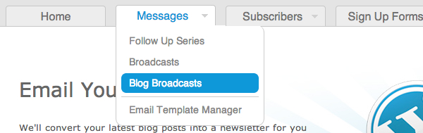 Create a Blog Broadcast step 01