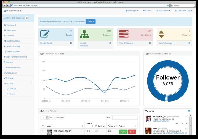 Unfollowerstats Tool to Unfollow Non Followers on Twitter