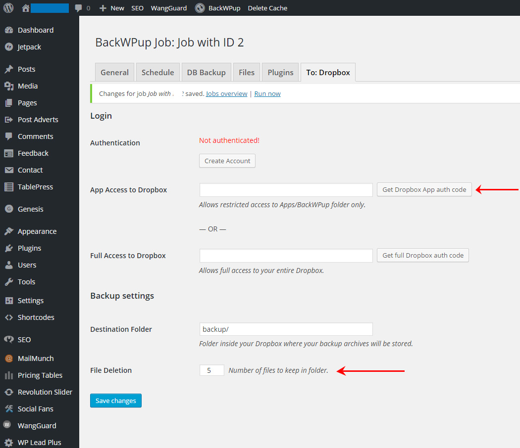 How To Backup Your WordPress Site Using BackWPup - To Dropbox Tab