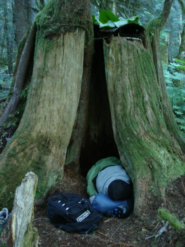 "Resourceful Survivalist uses a ""Natural Shelter"" for the night"