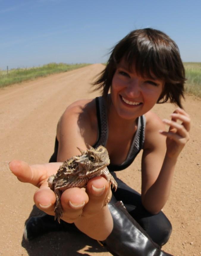 Jessie showcasing a Texas Horned Lizard