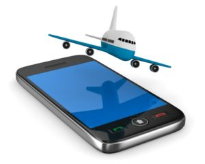 phone and airplane on white background. Isolated 3D image