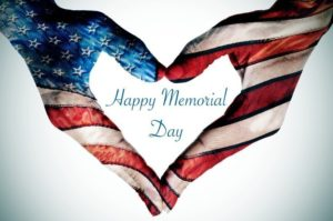 hands forming a heart patterned and text happy memorial day