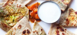 parathas with curd and pickle