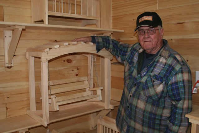 Glen builds all kinds of wood products with his Woodmasters. Here he displays doll furniture he builds to accompany the popular American Girl Doll.