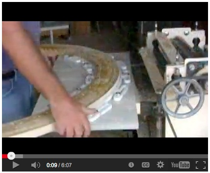 Gary demonstrates using a simple jig to run his laminated, curved blank through the Woodmaster.