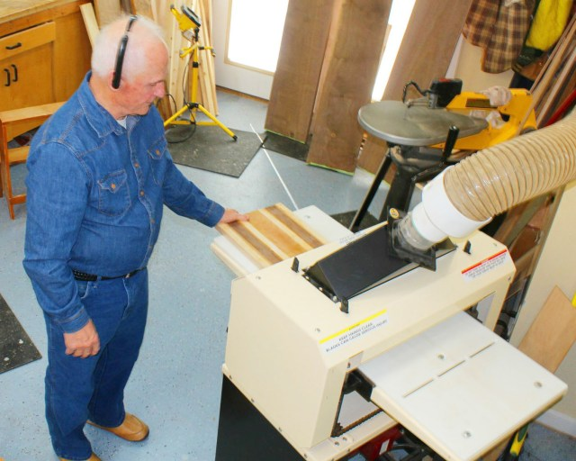 "Another day on the job for Vern Mayer. ""Dad spends a lot of time in front of my Woodmaster,"" says his son, Paul."