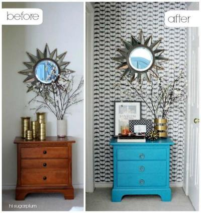 27 Cool DIY Furniture Makeovers with Wallpaper