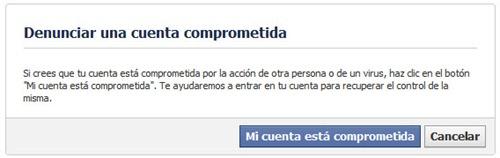 Denunciar cuenta comprometida Facebook