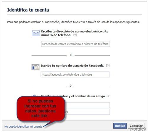 Identificar cuenta Facebook