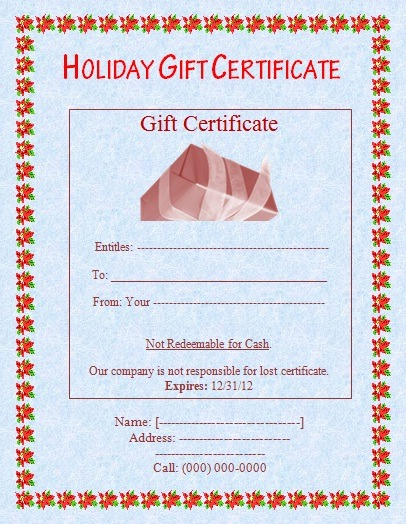 Holiday Gift Certificate Template printable pdf download
