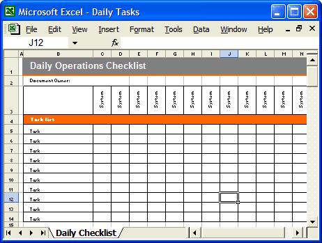 daily checklist template thebridgesummitco