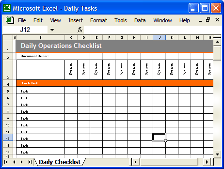 4 Daily Checklist Templates Excel Xlts