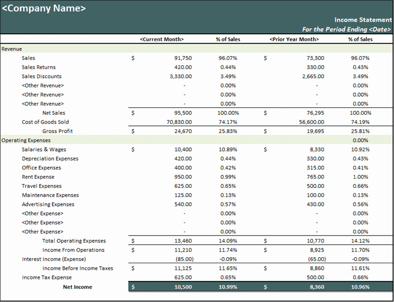 Statement Template For Excel