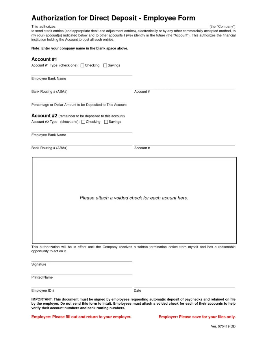 payroll direct deposit authorization form template - 28 images ...