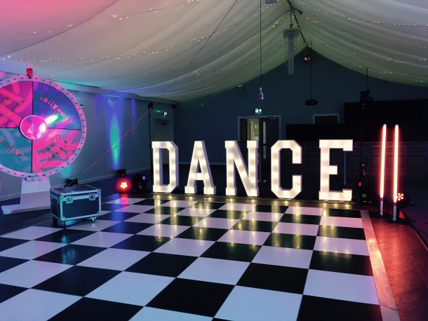 DANCE marquee letter lights