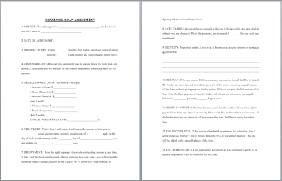 20 Free Consumer Loan Agreement Templates - Word Templates