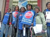 Philadelphia postal workers picket low-wage Staples store. The postal service wants to outsource jobs there.WW photo: Joseph Piette
