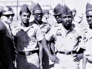 From left, Pfc. Ernest Bess, Atty. Michael Kennedy, Pfc. Guy Smith, Sp/4 Albert Henry, Pvt. Ernest Frederick, Sgt. Robert Rucker, Sp/4 Tollie Royal. October 1968 at Fort Hood, Texas.