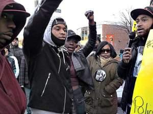 Aaron Winston's brother, right, speaks at Trayvon Martin rally on Feb. 26.
