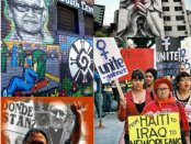 Collage includes murals of Maria Guardado in South Central L.A. (left) and Mexico City, and photos of Maria in the struggle.