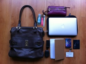 Work from Home Wisdom - working away from home -what's in your bag - Francesca Geens
