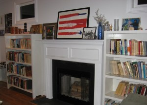 flag living room house books