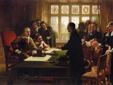 Charles West Cope - Oliver Cromwell and His Secretary John Milton, Receiving a Deputation Seeking Aid for the Swiss Protestants