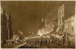 36 x 50 cm aquatint with etching of the festivities in Windsor Castle during Guy Fawkes night: one of a group of four prints of Windsor Castle published in September 1776.