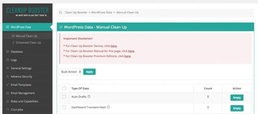 Cleanup Booster WordPress Plugin Screenshot