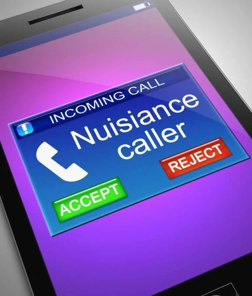 Picture of iPhone with nuisance caller phoning