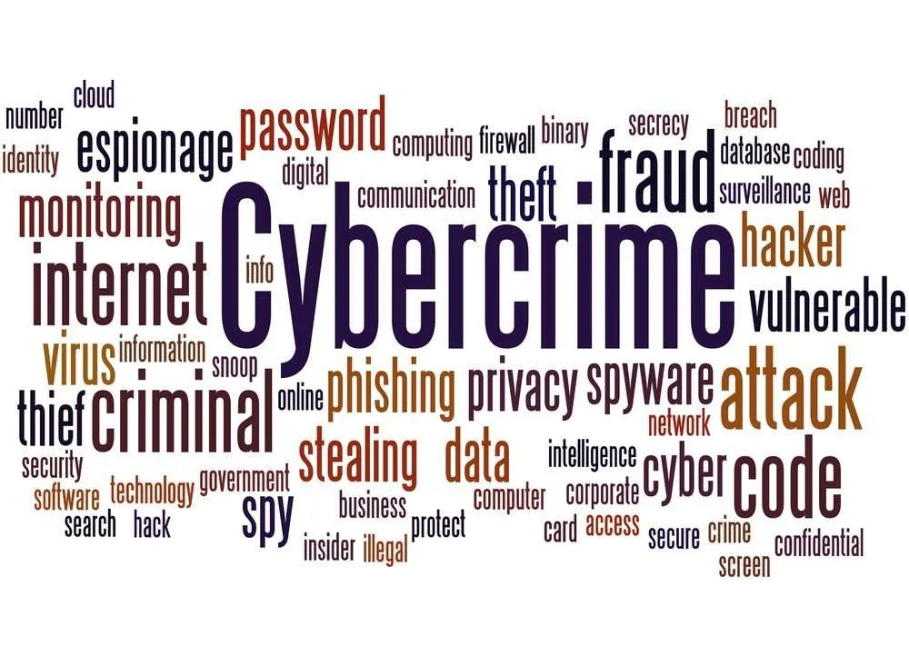 Cloud of Cybercrime Definitions - Malware, Phishing, Virus etc on a White Background