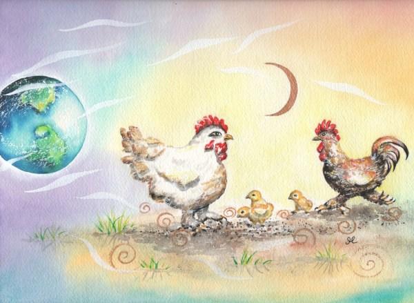 Chickens by visionary artist Madeleine Tuttle