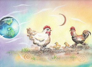 chickens by artist Madeleine Tuttle