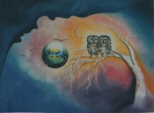 Owls by visionary artist Madeleine Tuttle
