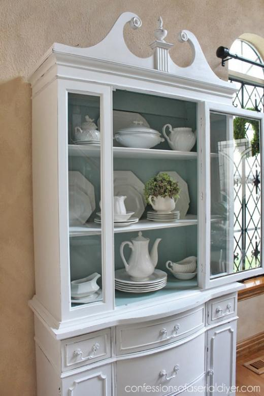 Duck Egg Blue and White china cabinet makeover
